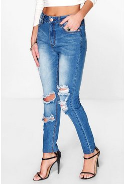 Claire High Rise Open Knee Distressed Skinny Jeans