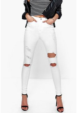 Sadie 5-Pocket High Rise Distressed Skinny Jeans