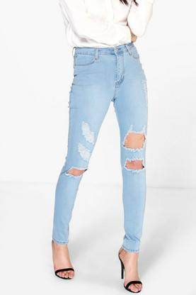 Sadie 5-Pocket Distressed High Rise Skinny Jeans