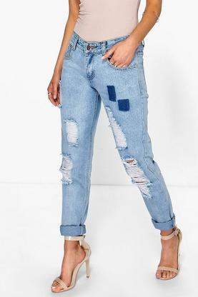 Shirley Low Rise Distressed Turn Up Boyfriend Jeans