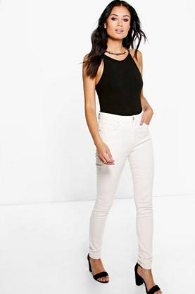 Esther High Rise Ecru Skinny Jeans
