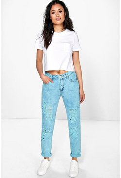 Tanya Bleach Wash Distressed Boyfriend Jeans