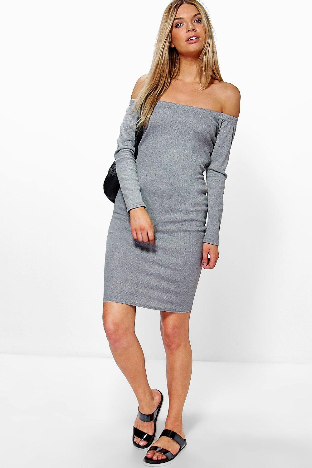 Mandy Off The Shoulder Ribbed Midi Dress