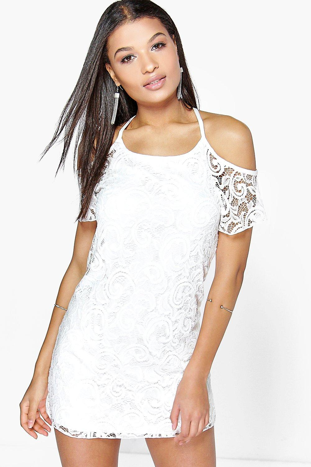 Abigail Open Shoulder Lace Shift Dress