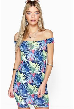 Cara Tropical Printed Off Shoulder Bodycon Dress