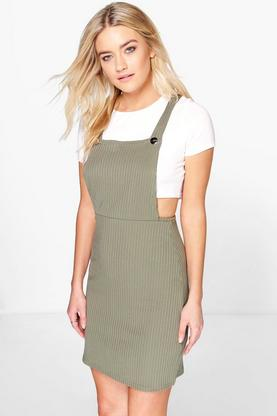 Johanna Ribbed A-Line Pinafore Dress