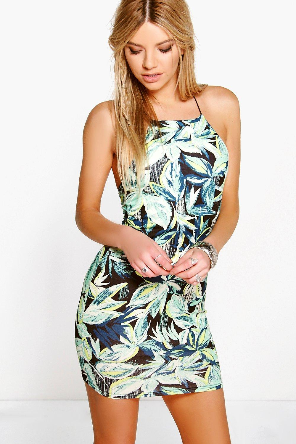 Savannah Tropical Print Mini Bodycon Dress
