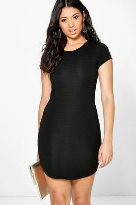 Arabella Textured Curved Midi Dress