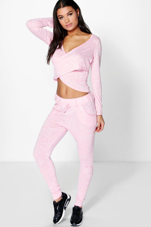 Wrap Top Knitted Loungewear Set pink