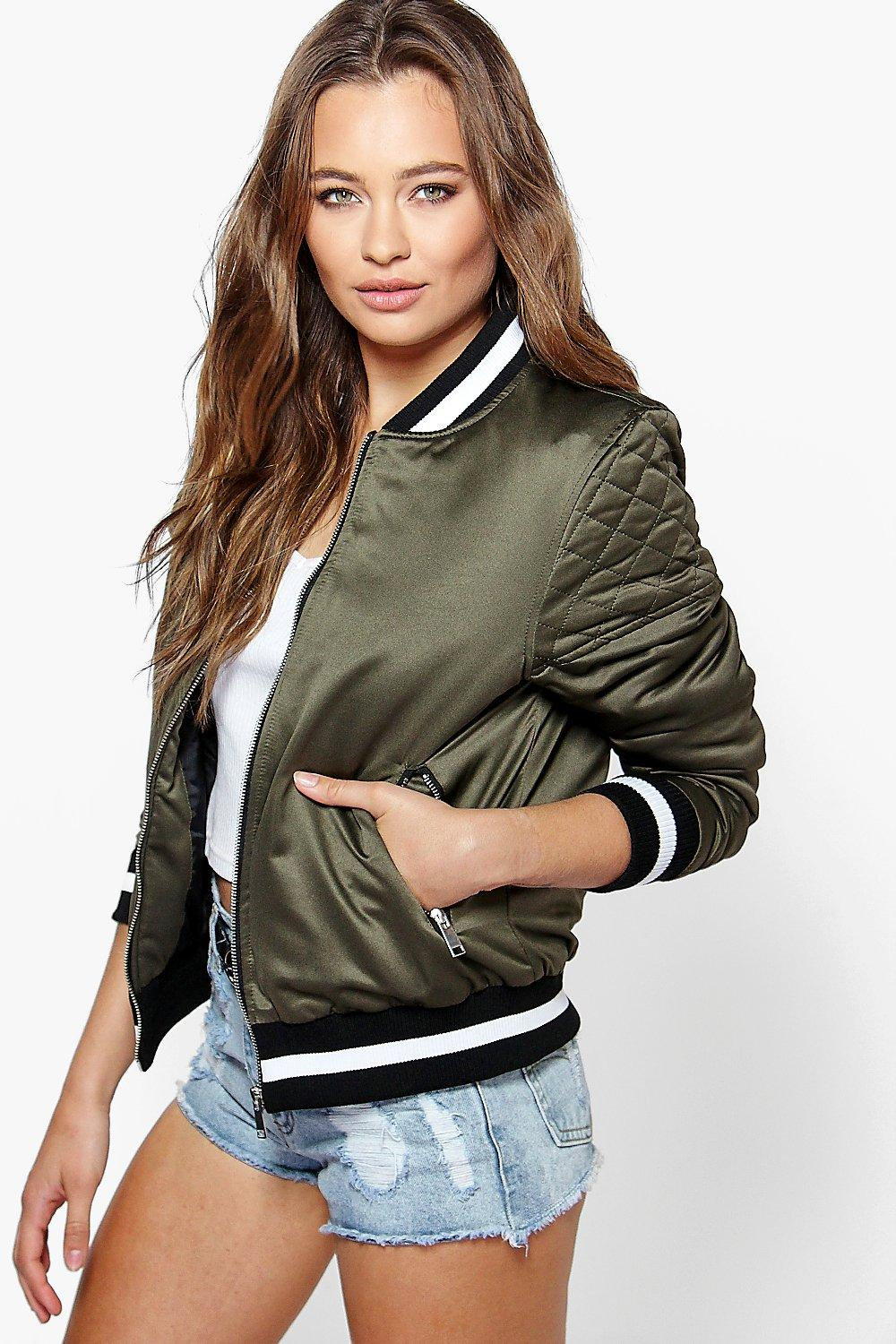 Eleanor Quilted Sleeve Varsity MA1 Bomber