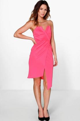 Amra Wrap Asymmetrical Detail Bandeau Midi Dress