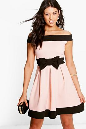 Denise Bow Detail Bardot Skater Dress