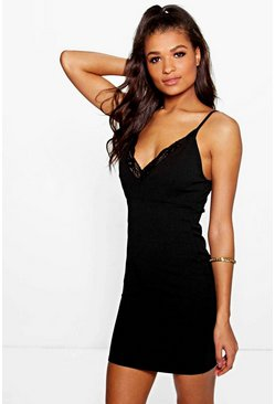 Ivana Lace Trim Strappy Slip Dress