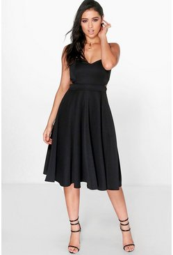 Joyce Cut Out Bandeau Midi Skater Dress