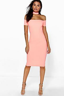 Jules Cap Sleeve Choker Midi Dress
