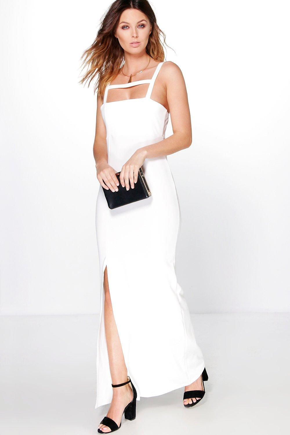 Mabel Square Neck Strappy Detail Maxi Dress