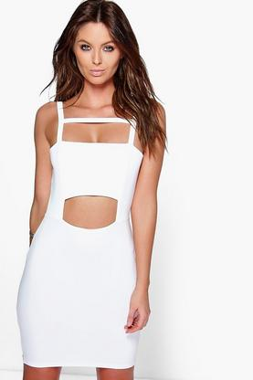 Anine Square Neck Strappy Cut Out Bodycon Dress