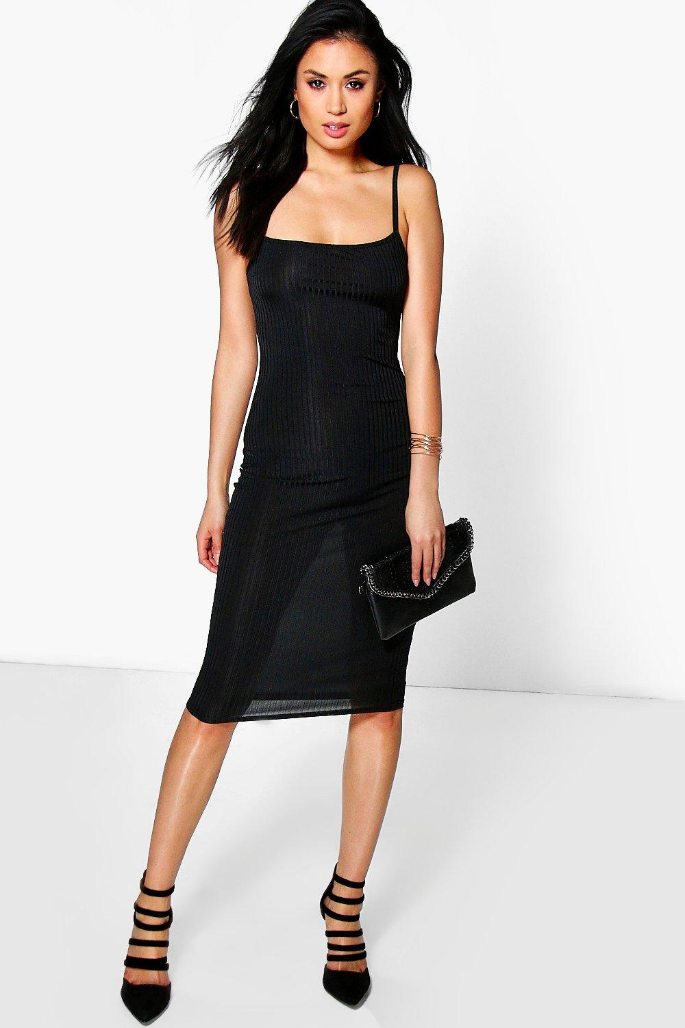 Strappy Square Neck Ribbed Midi Dress black
