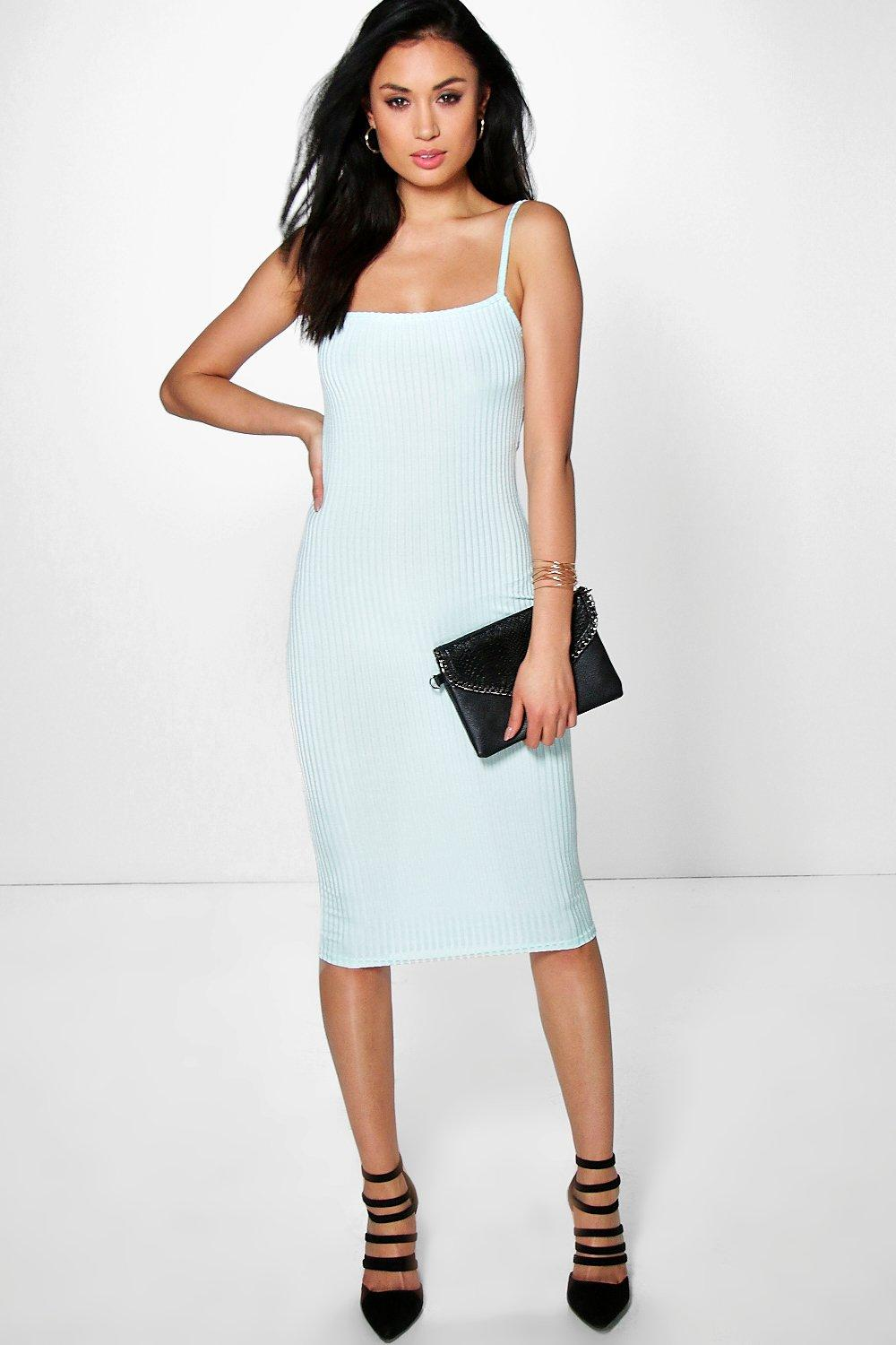 Strappy Square Neck Ribbed Midi Dress mint