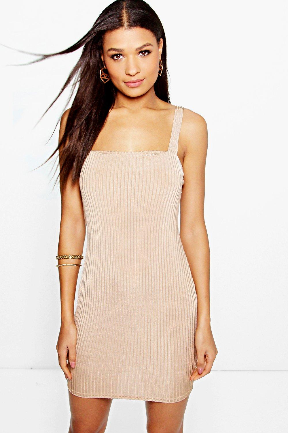 Fi Wide Strap Square Neck Ribbed Bodycon Dress