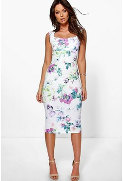 Rosalinda Floral Sweetheart Midi Dress