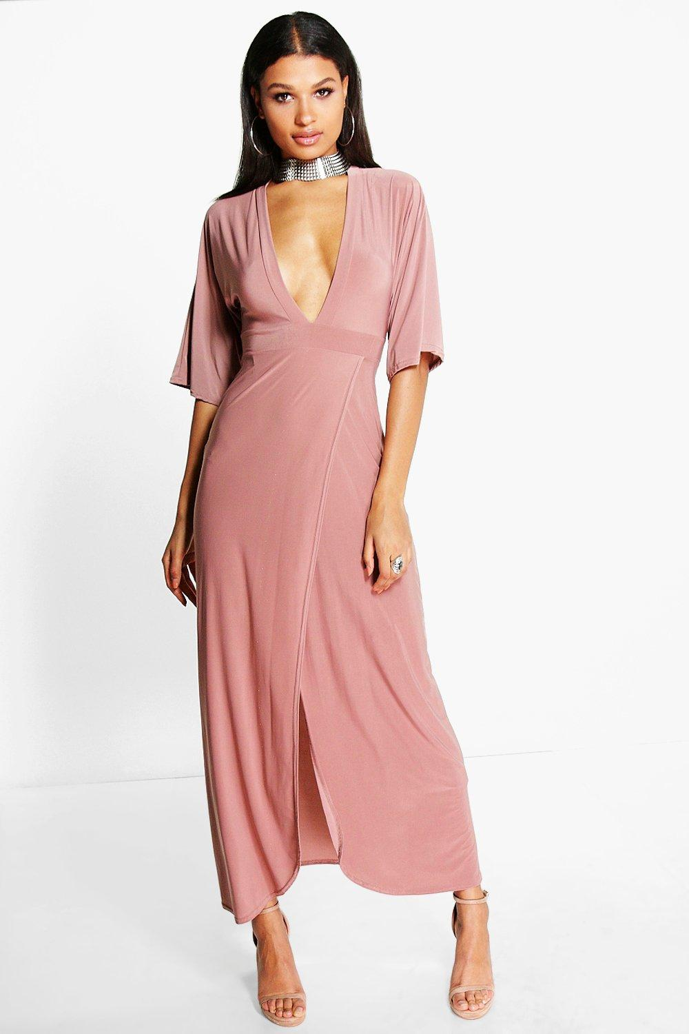 Kimono Open Back Tie Detail Maxi Dress rose