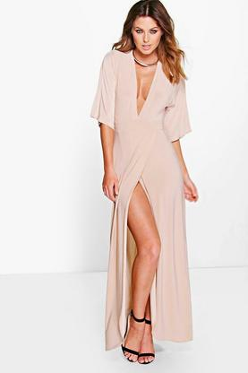Kerry Kimono Open Back Tie Detail Maxi Dress