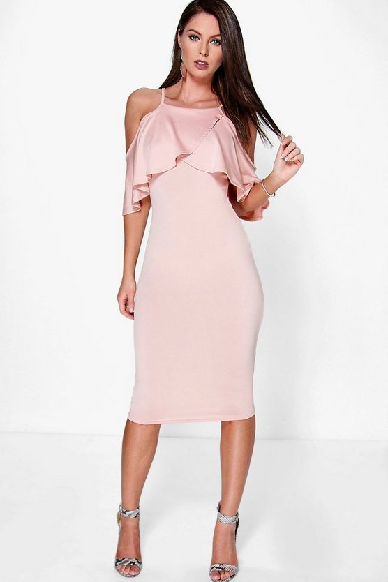 Dalila Cold Shoulder Frill Detail Midi Dress