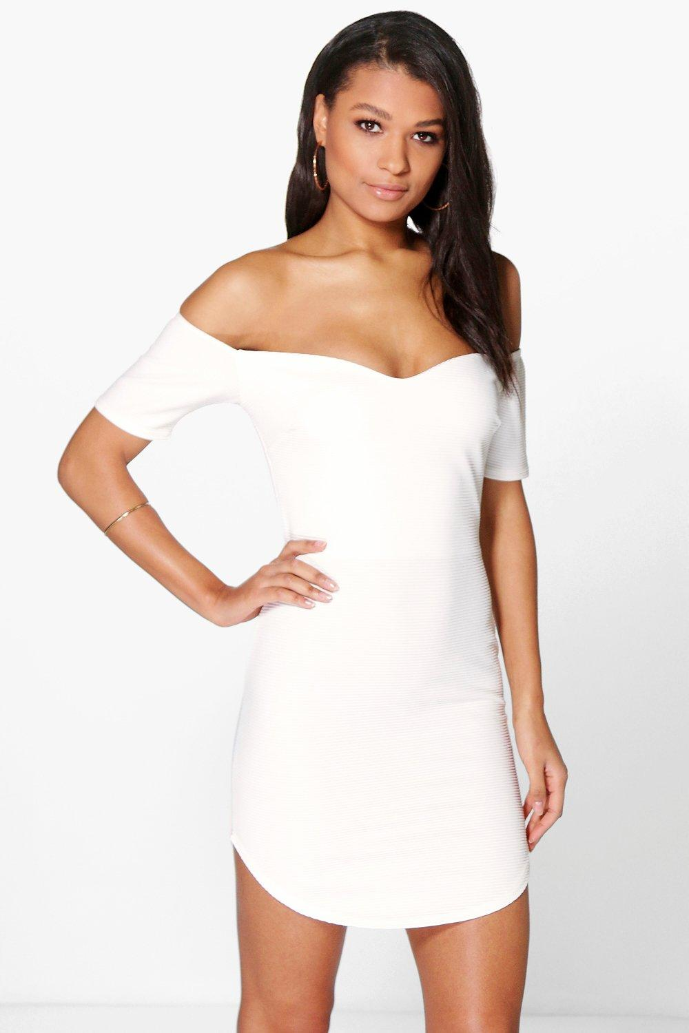 Ria Of The Shoulder Curved Hem Bodycon Dress
