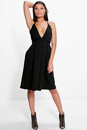 Bella Tie Waist Plunge Midi Skater Dress