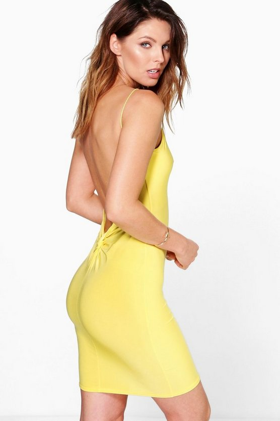 Sara Slinky Open Back Twist Bodycon Dress