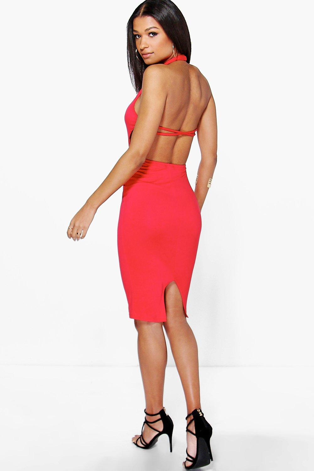Veronica Strappy Back Halterneck Midi Dress