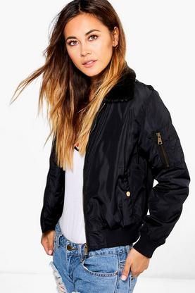 Julia Faux Fur Collar Bomber
