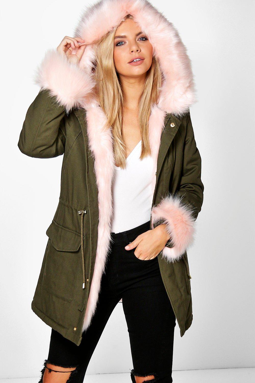 Tia Detachable Faux Fur Cuff & Collar Parka - pink