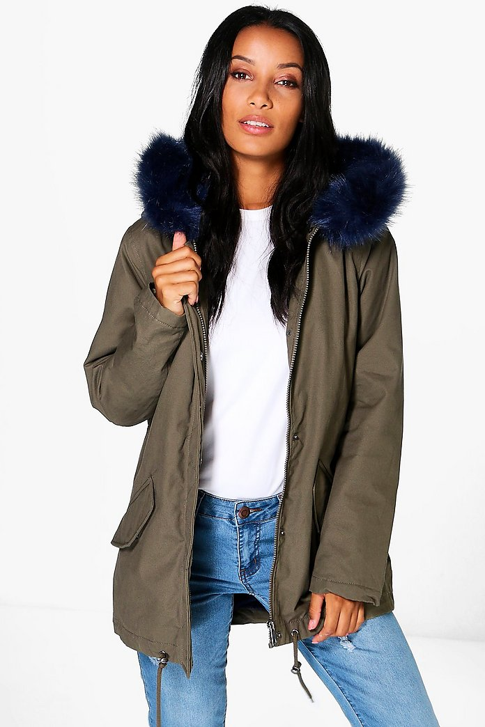 Boutique Esme Faux Fur Collar Parka
