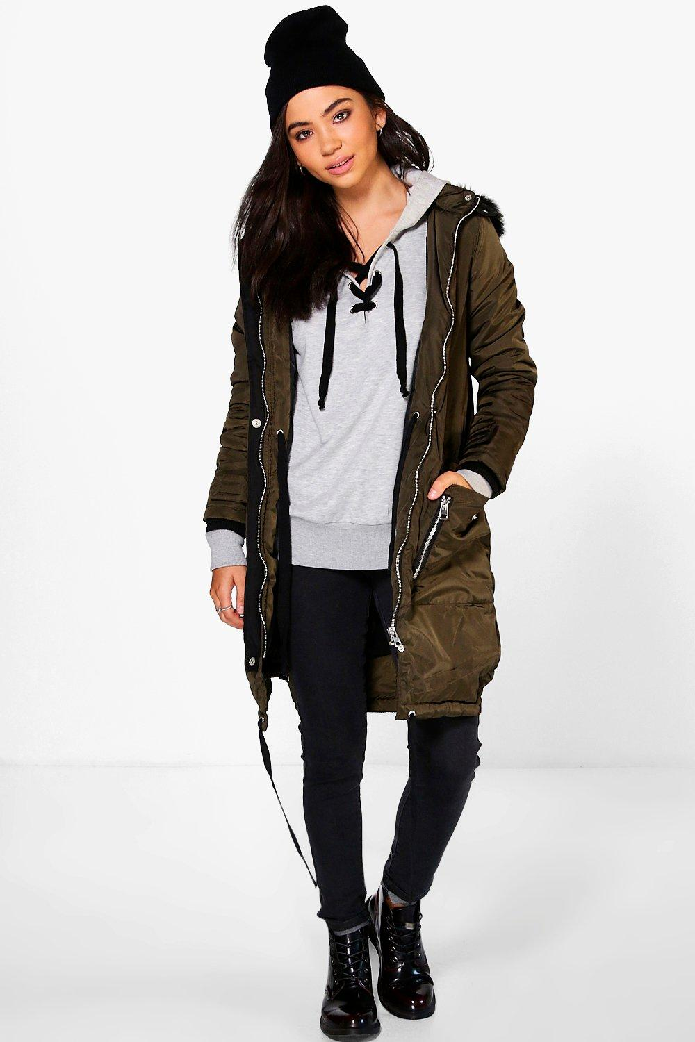 Emilia Parka With Faux Fur Trim Hood