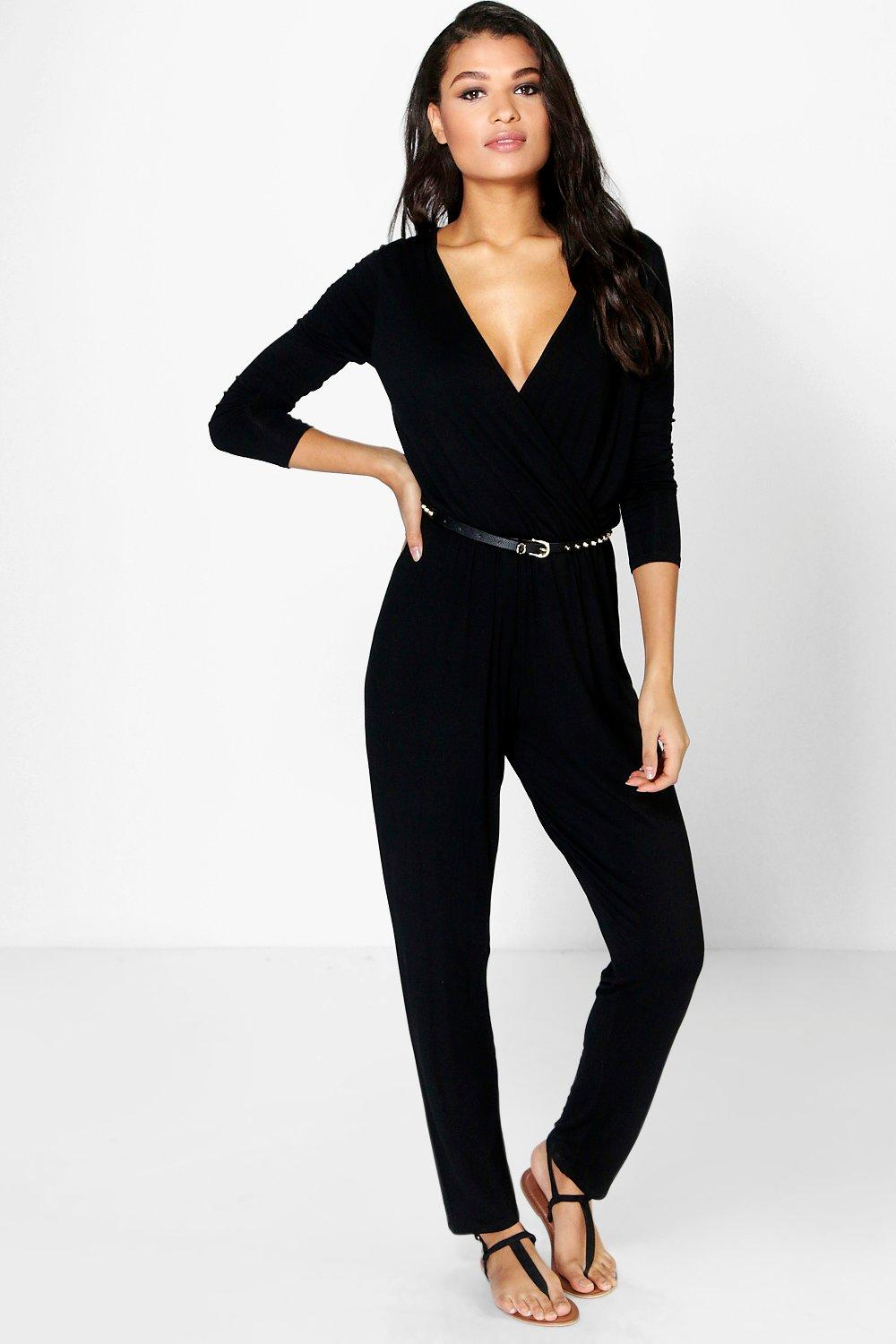 Livie Wrap Front Jersey Casual Jumpsuit