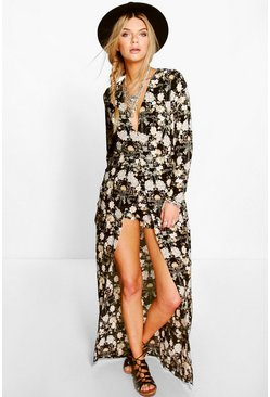 Ada Long Sleeve Deep Plunge Wrap Floral Playsuit