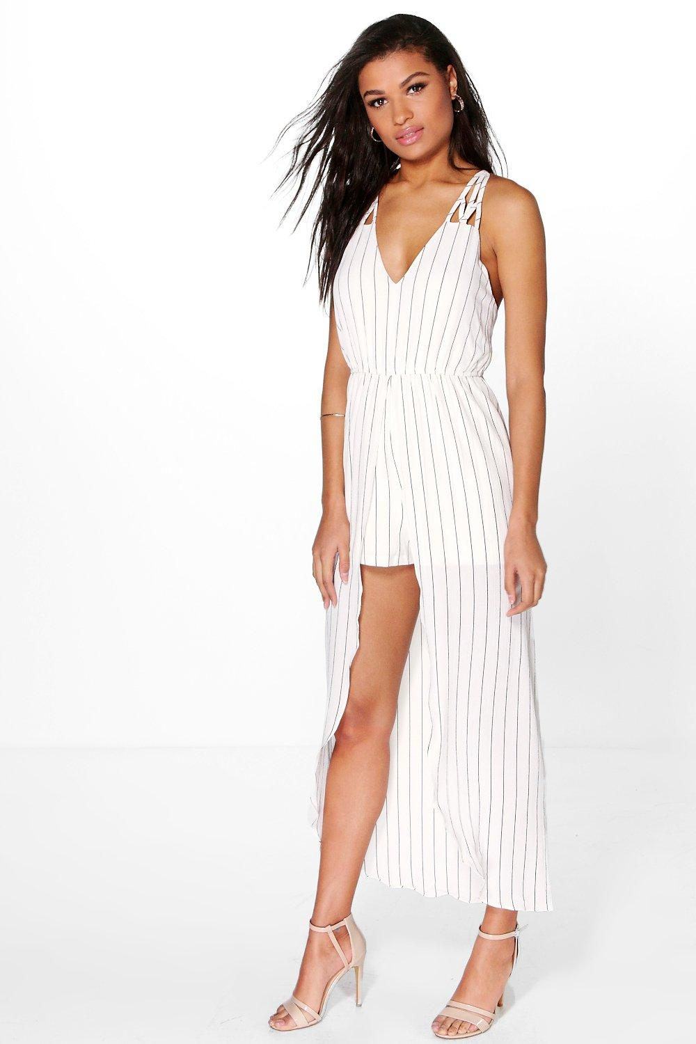 Liv Strappy Striped Maxi Overlay Playsuit