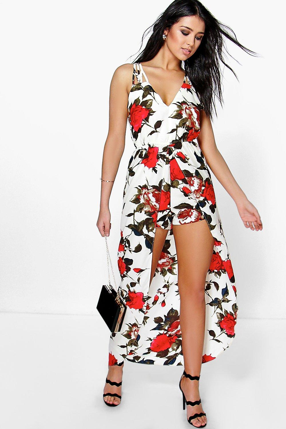 Ann Strappy Floral Maxi Overlay Playsuit