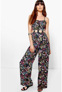 Mia Caged Cut Out Strappy Wide Leg Floral Jumpsuit
