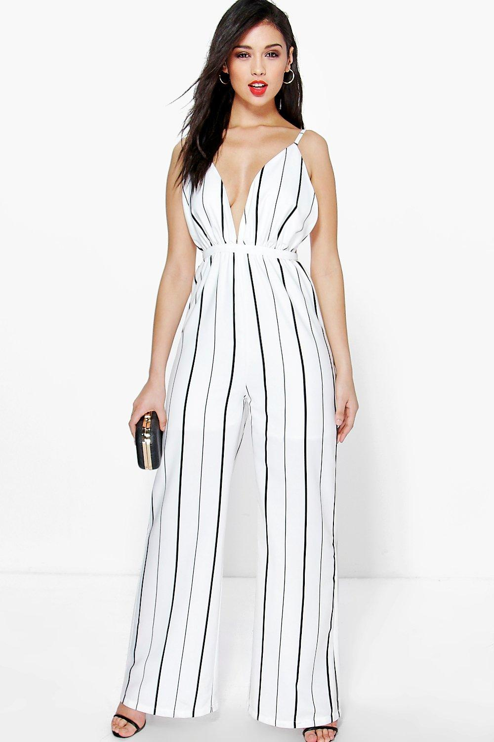 Jen Deep Plunge Strappy Wide Leg Jumpsuit