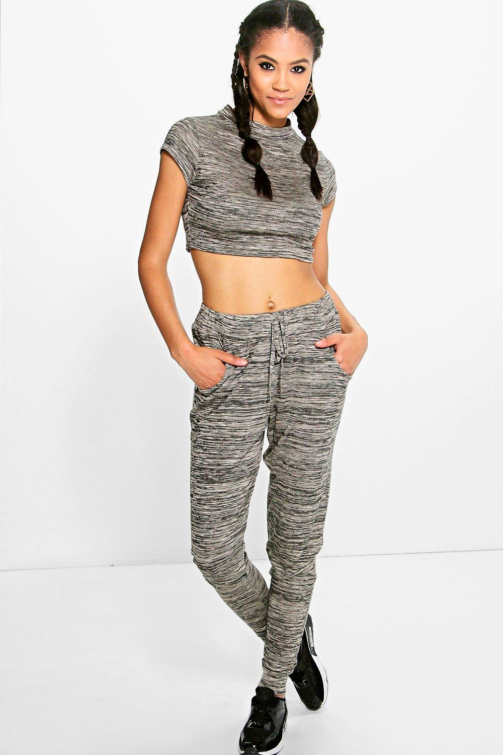 Lydia Knitted Loungewear Set With Crop Top