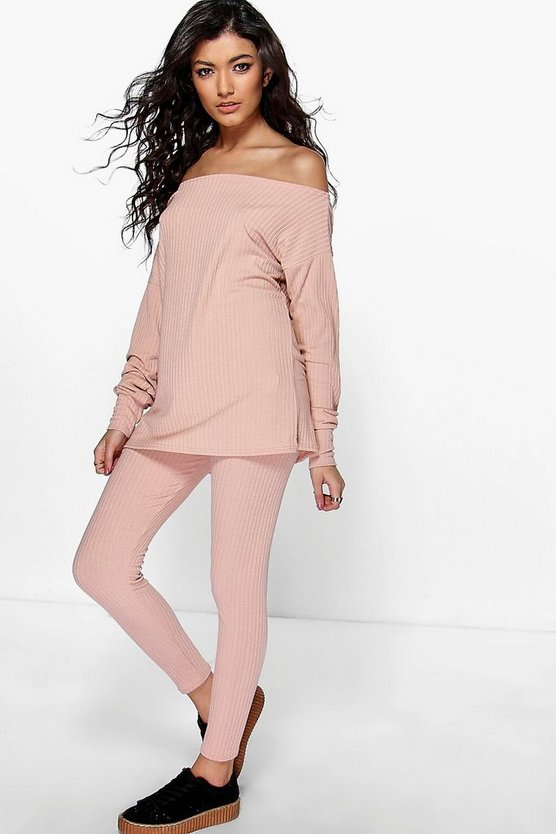 Mia Oversized Off Shoulder Knitted Loungewear Set