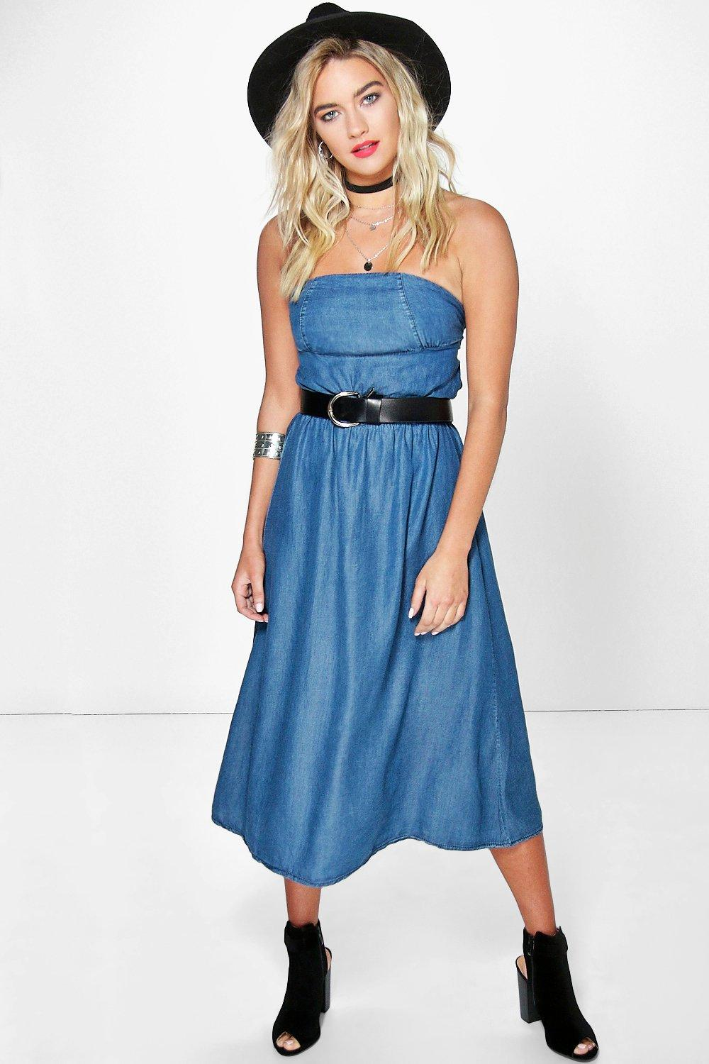 Zoe Strapless Ultra Soft Denim Dress