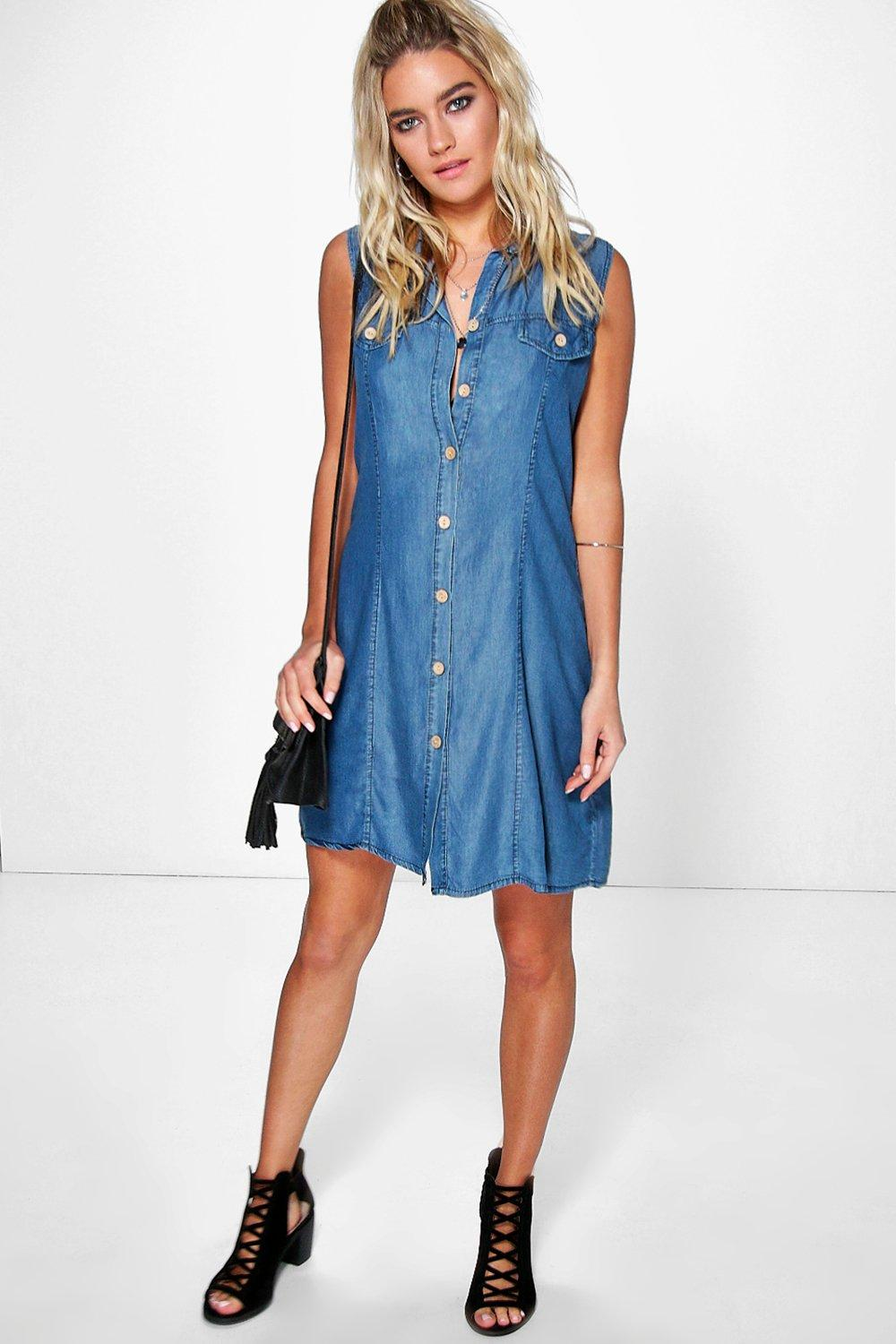 Jade Sleeveless Soft Denim Shirt Dress