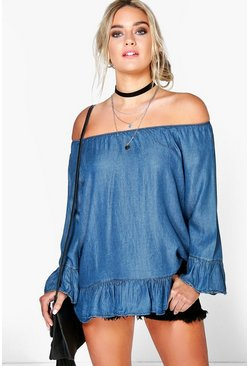 Hollie Off The Shoulder Frill Denim Top