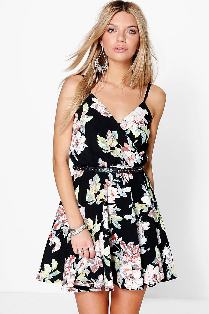 Cammi Floral Wrap Skater Dress