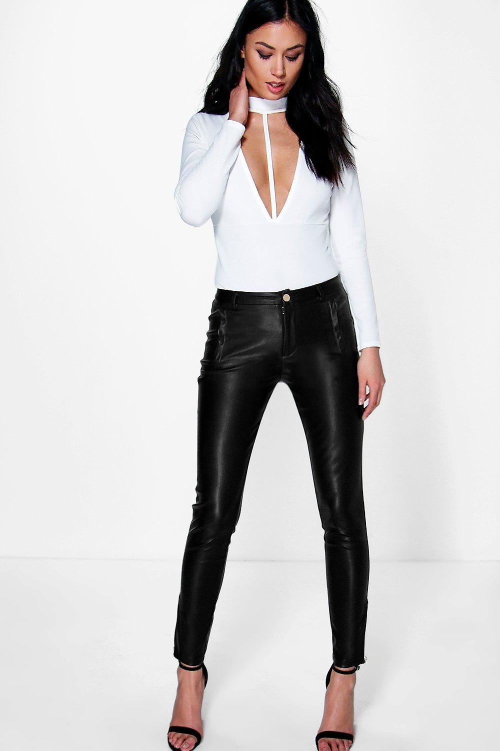 Aurelia Zip Ankle Leather Look Skinny Trousers