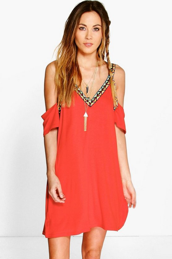 Lianne Cold Shoulder Aztec Detail Strappy Dress